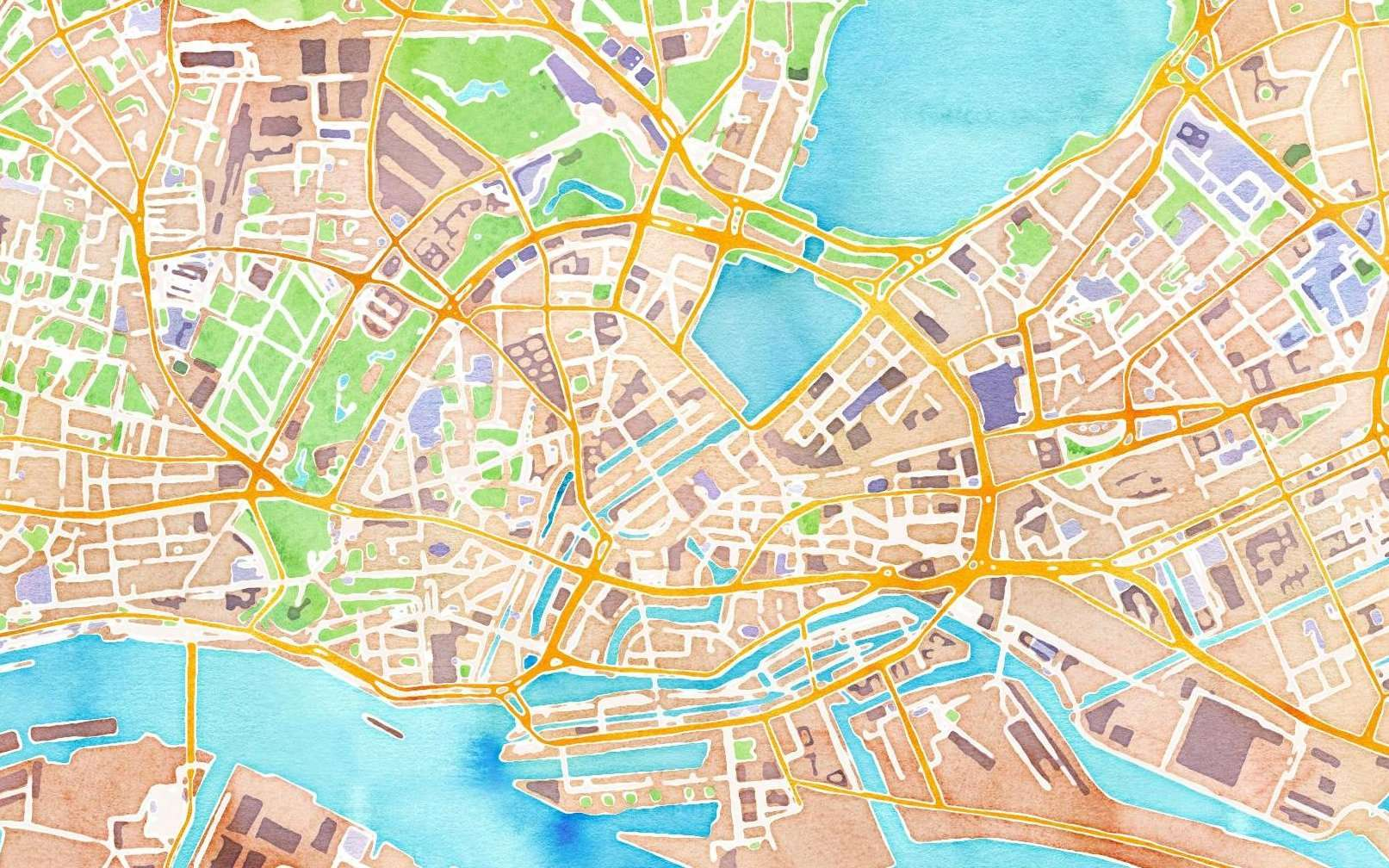 Hingergrundbild, Karte der Hamburger Innenstadt im Aquarell-Stil